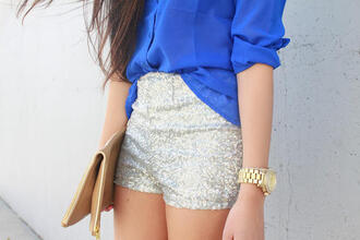 shorts glitter glitters silver blouse sequins high waisted bag sparkle fancy shorts short grey short party glitter shorts gold sequins love fashion style watch clutch brown clutch gold zipper gold zippers brown blue see through blue see through button up blouse silver sequins sparkle shorts silver shorts sequin shorts camel clutch shirt blue shirt gold watch