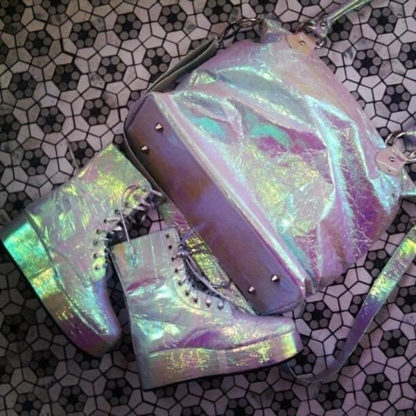 shoes iridescent boots platform shoes lace up holo holographic pink purple shiny bag