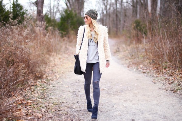 happily grey jacket sweater jeans hat bag shoes coat
