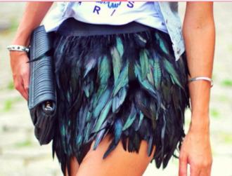 skirt plume blue sexy blue skirt paon