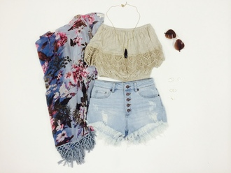 shorts angl denim festival music floral cute fashion crochet raybands spring high waisted buttons frayed light blue acid wash coachella kimono crop tops flowers summer spring summer 2011
