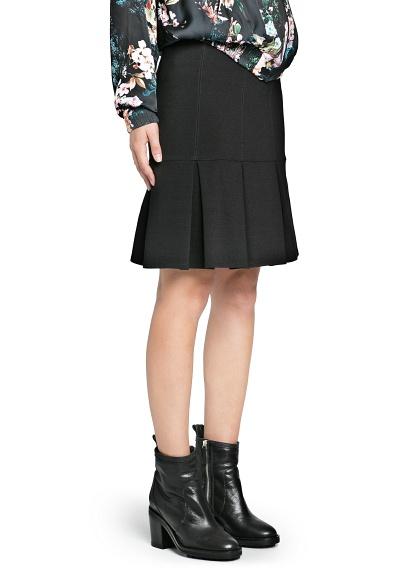 MANGO - NEW - Pleated hem ponte skirt