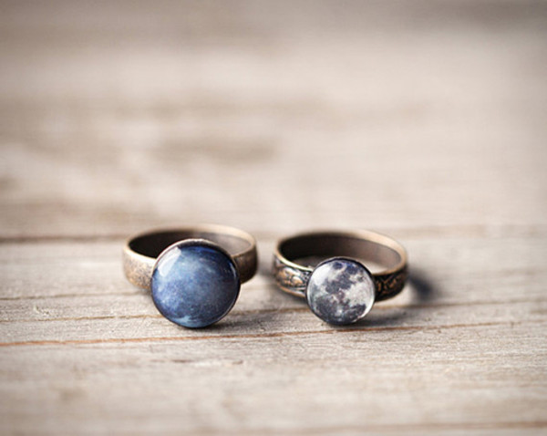 jewels ring galaxy print moon space casual bronze copper vintage indie trendy smooth design gorgeous stacking ring blue white grey grey black navy pink purple