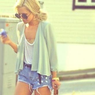 sweater shirt shorts green blouse blouse sunglasses belt girly watch michael kors glasses cardigan jacket tank top