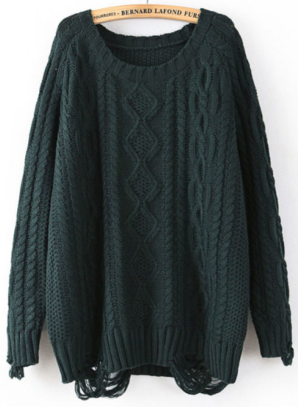 Green Long Sleeve Ripped Cable Knit Sweater - Sheinside.com