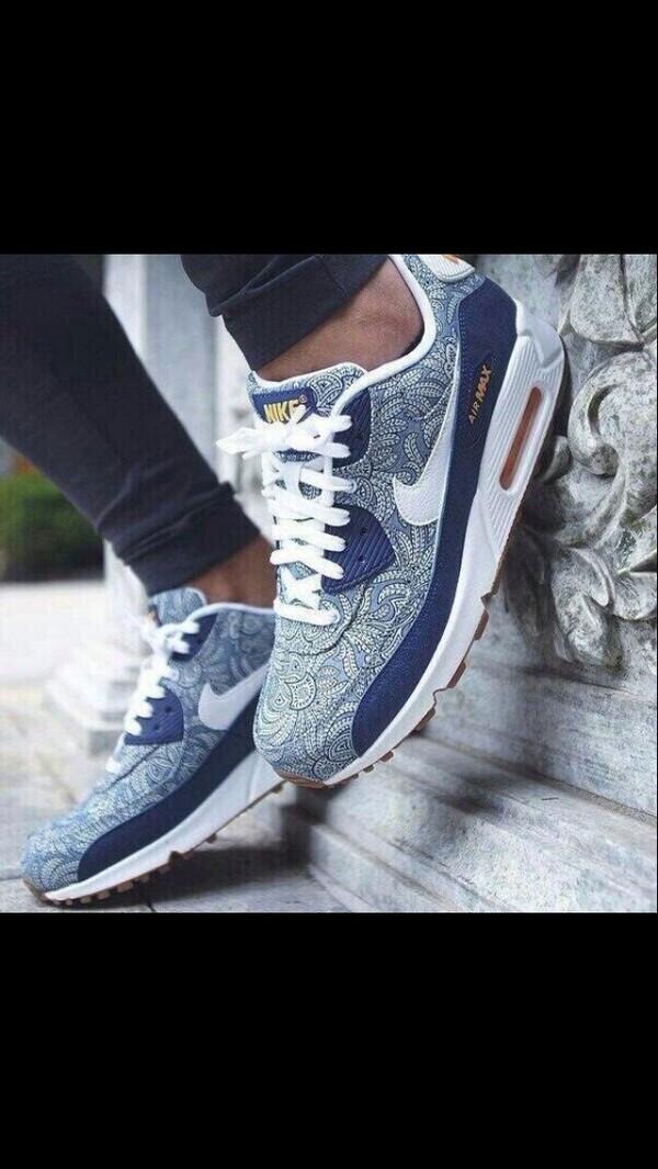 shoes nike air max blue sneakers sneakerhead paisley print