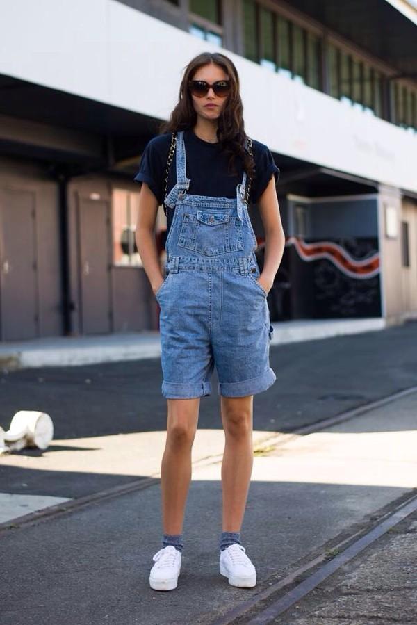 dress overalls denim shorts dungarees blue unisex boy hipster indie cool fashion week