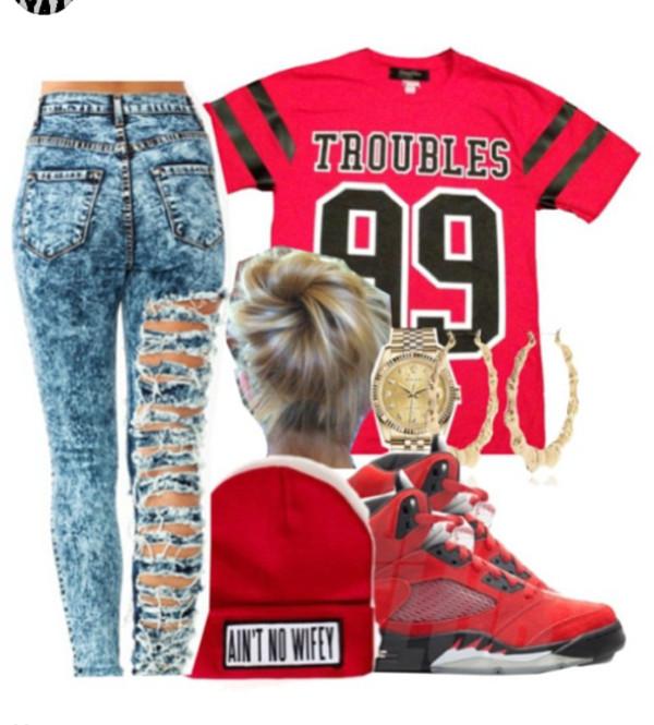 jeans shirt hat jewels shoes blouse