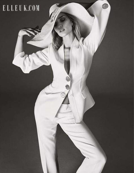 rosie huntington-whiteley white pants suit tailoring
