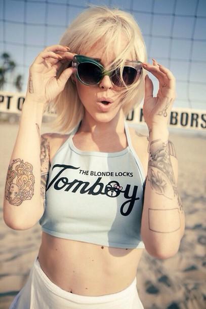 top tomboy halter neck baby blue