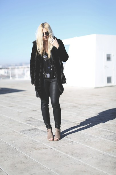 room91 blogger leather pants blonde hair black coat