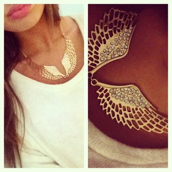 jewels necklace gold wings angel wings rhinestones chain angel wing necklace statement necklace