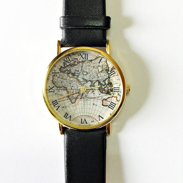jewels watch map watch vintage style leather watch jewelry fashion accessories boyfriend watch black leather watches