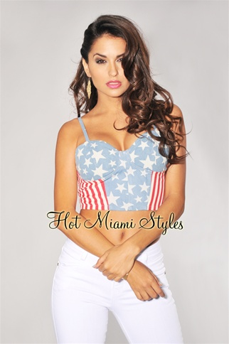 American Flag Denim Cropped Bustier Top