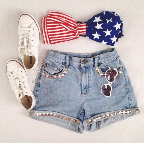 shorts high waisted denim shorts bandeau american flag studs studded