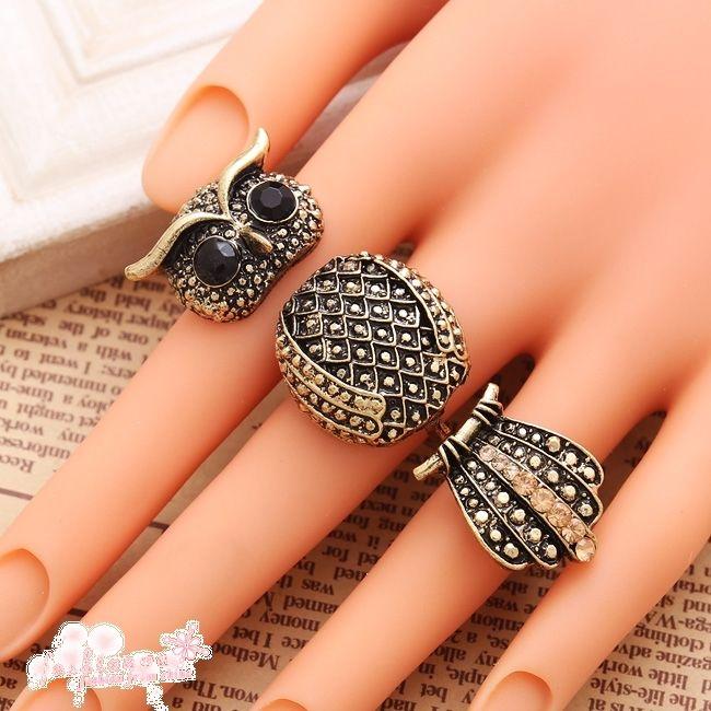 1 PC Big Eye Owl Fashion New Retro Three Fingers Ring | eBay