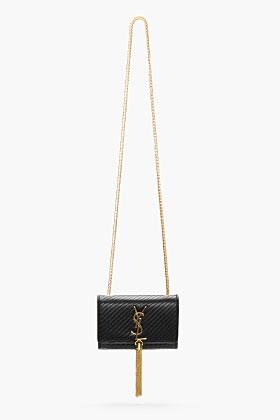 Saint Laurent Black Leather Tasseled Cassandre Shoulder Bag for women   SSENSE