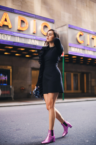 style scrapbook blogger dress shoes bag black dress glitter shoes ankle boots winter date night outfit ruffle ruffle dress mini dress long sleeves mid heel boots bachelorette party outfits