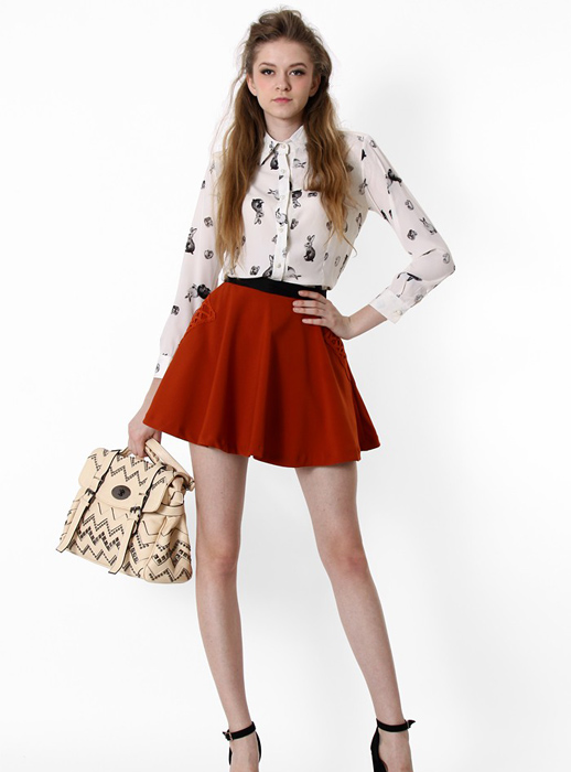 White Rabbit Printing Lapel Chiffon Shirt$39