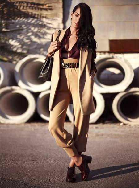 coat casual beige curly hair belt classy smart bitch