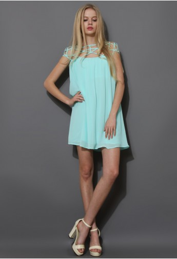 Mint Blue Cage Chiffon Dress Top  (First 30 Orders $29.9) - Retro, Indie and Unique Fashion