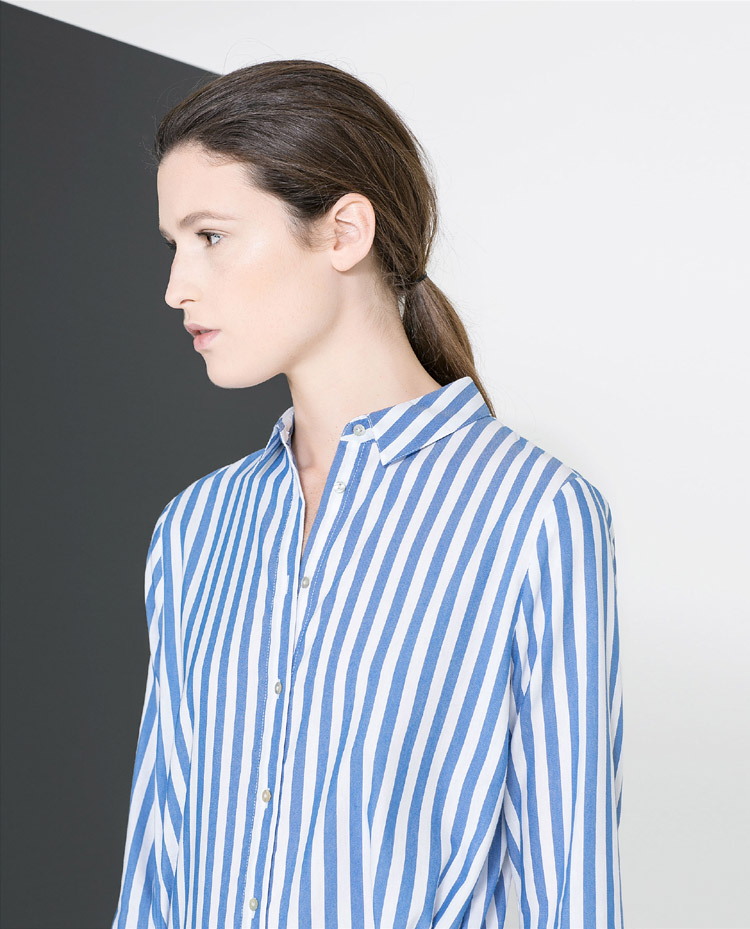 Blue White Vertical Stripe Lapel Long Sleeve Blouse - Sheinside.com
