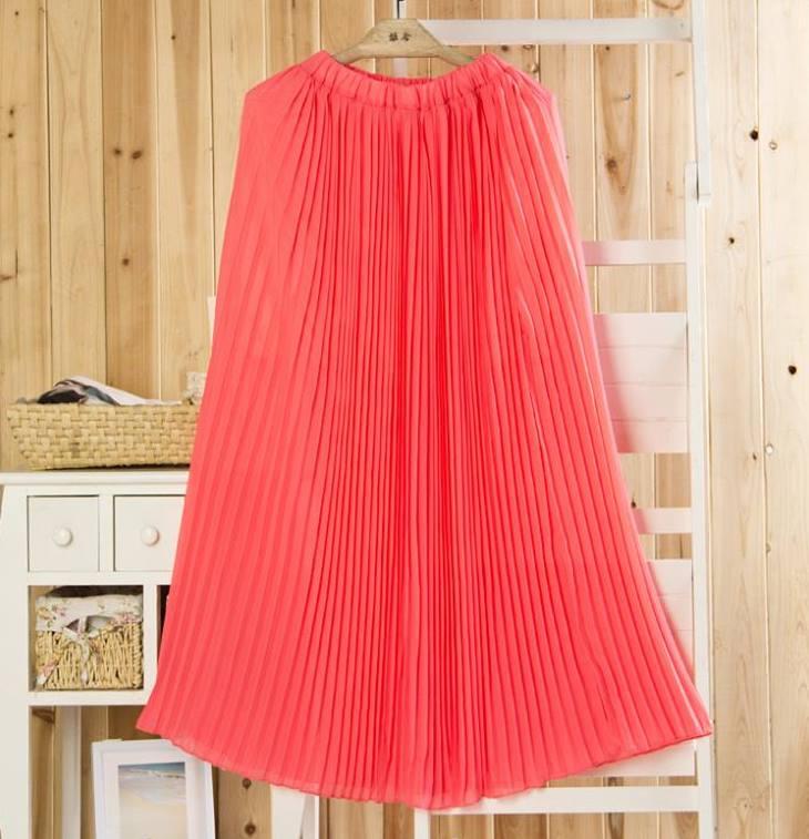 Neon Coral Pink Pleated Chiffon Full Length Maxi Skirt | eBay