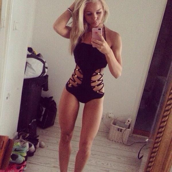 swimwear cut-out swimsuit summer outfits black bikini one piece swimsuit