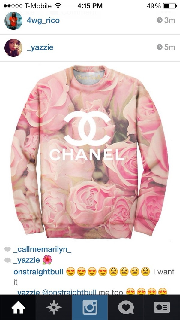 sweater pink chanel flowers pink roses