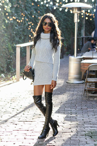 tuolomee blogger sunglasses knitwear winter outfits turtleneck thigh high boots grey skirt grey sweater date outfit dress sweater top skirt shoes bag