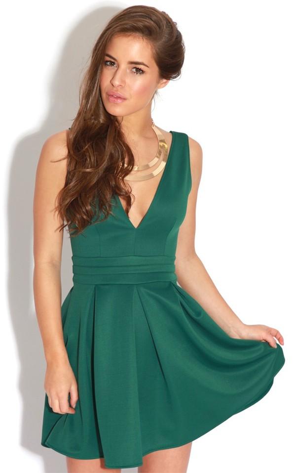 dress clothes green dress skater dress fashion emerald dress green