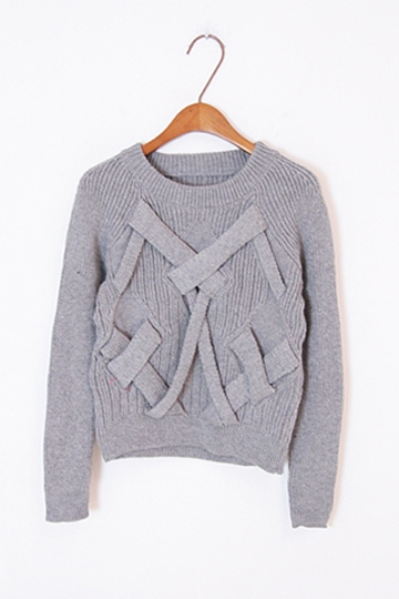 Temperament Cross Knit Sweater [FKBJ10321] - PersunMall.com