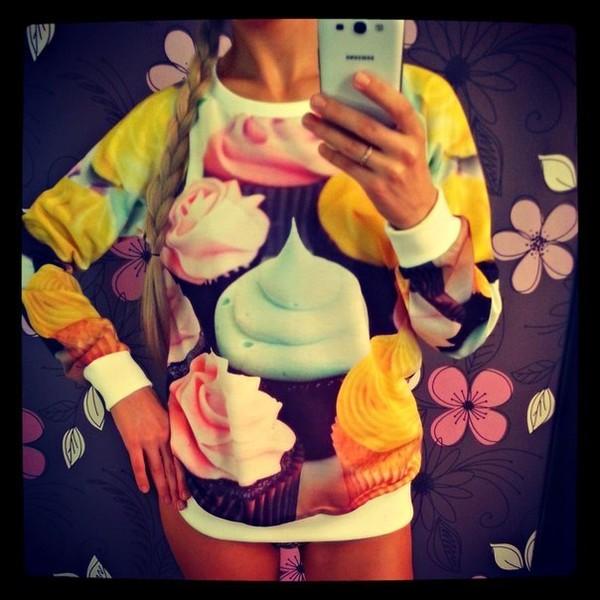 sweater cupcake cupcake sweater shirt cardigan sweet sweets pink