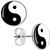 Black White Yin Yang Stud Earrings | Body Candy Body Jewelry