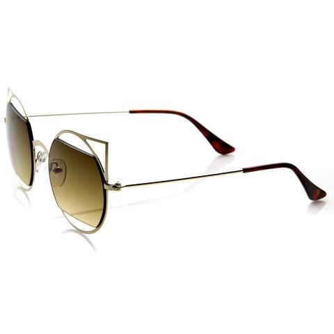 Designer Inspired Womens Round Cat Eye Sunglasses 9122                             zeroUV
