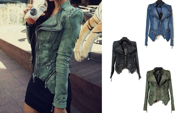 coat leather hot in fashion black blue cute jacket hip style green tight leather jacket