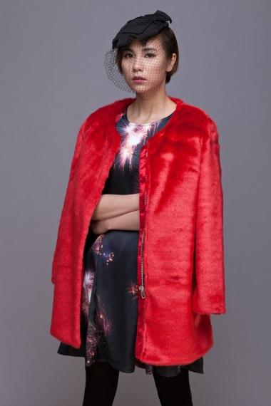 Red Faux Fur Coat - FrontRowShop