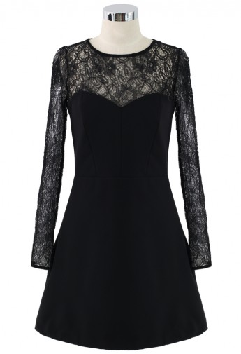 Sweet Night Lace Panel Split Skater Dress - Retro, Indie and Unique Fashion