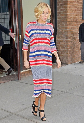 sienna miller knitwear spring striped dress knitted dress dress midi summer knit dress midi knit dress three-quarter sleeves midi dress stripes celebrity style celebrity sandals sandal heels high heel sandals printed knit dress