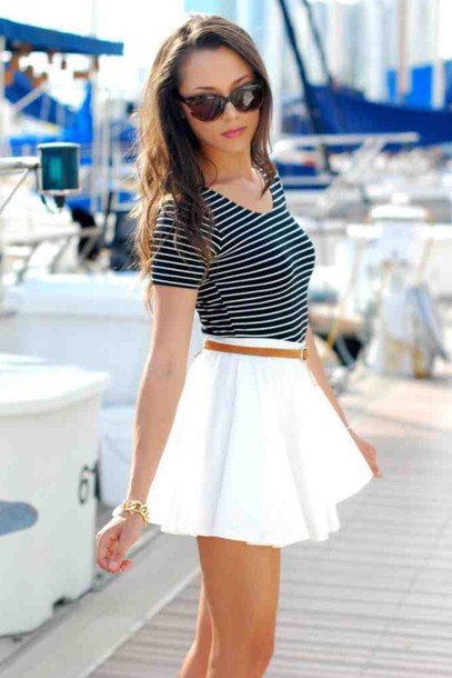 skirt top stripes outfit summer top