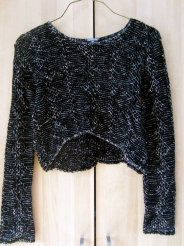 sweater cropped sweater long sleeves black and white knitwear hi lo gem layers bohemian chic indie edgy punk nerd weird geek cut-out bell sleeves cardigan winter sweater crop tops vintage pullover fall outfits fall sweater
