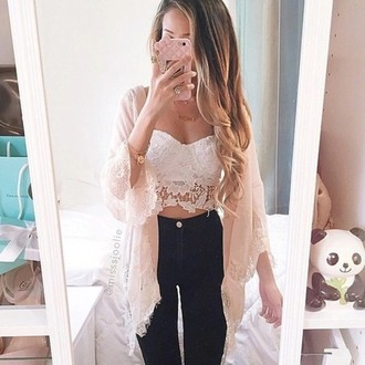 cardigan lace cardigan lace pastel pink jeans top offwhite cardigan sheer sheer kimono sheer cardigan off-white lace kimono crop tops white white top bag cute sexy style love pretty white crop tops fringe kimono kimono white lace top high waisted t-shirt flowers