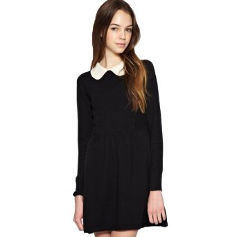 Finejo Women's Color Block Peter Pan Collar Long Sleeve Dress: Amazon.co.uk: Clothing