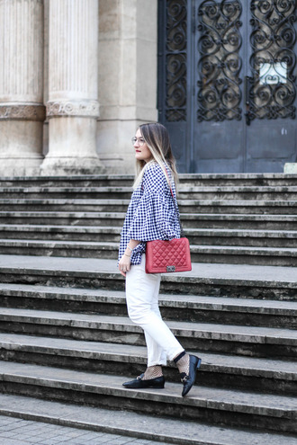 paris grenoble blogger jacket blouse chanel bag loafers white pants