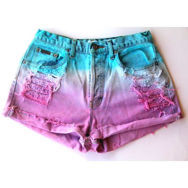 Blue and pink dip dye high waisted denim shorts - Polyvore