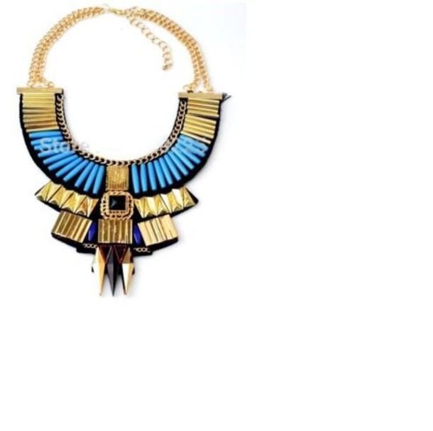 jewels big necklace necklace chain boho ethnic massive crystal blue gold black