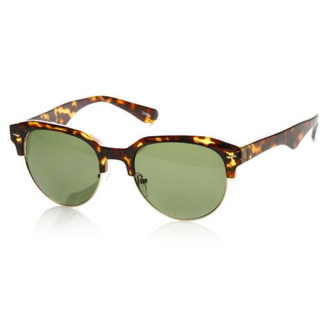 Vintage European Dapper Half Frame Round Wayfarer Sunglasses 8819                           | zeroUV