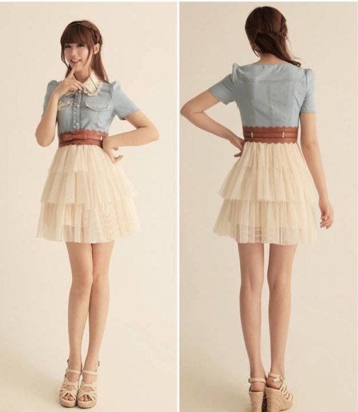 Temperament Split Joint Short Sleeve Yarn Dress 10514386 - Dressbuying.com