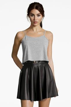 Jules Leather Look Skater Skirt at boohoo.com