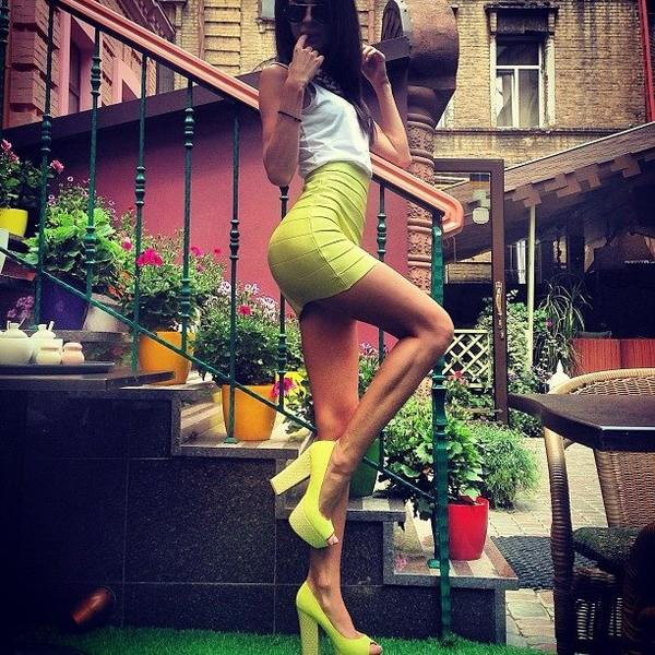 skirt high heels blouse shoes